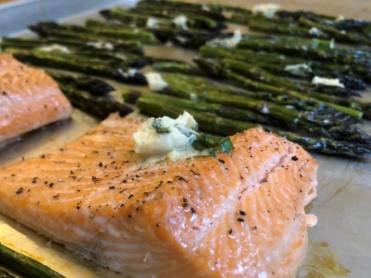 Salmon and asparagus Sheet Pan with mustard garlic butter