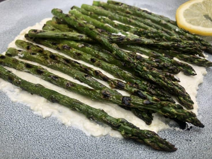 Grilled Asparagus with Ricotta and Feta