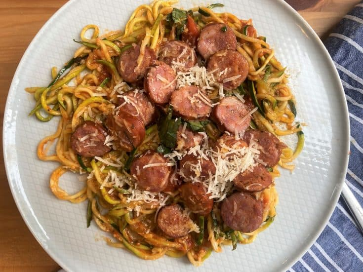 Sheet Pan  Spaghetti Zoodles and Sausage