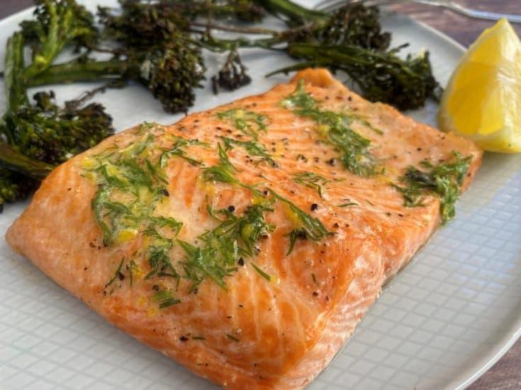 Sheet Pan Salmon & Broccolini with Lemon Dill Butter