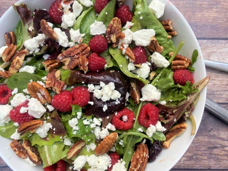Raspberry Salad with Goat Cheese & Pecans
