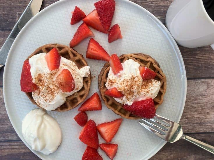 Breakfast Chaffles with Sweetened Yogurt & Strawberries