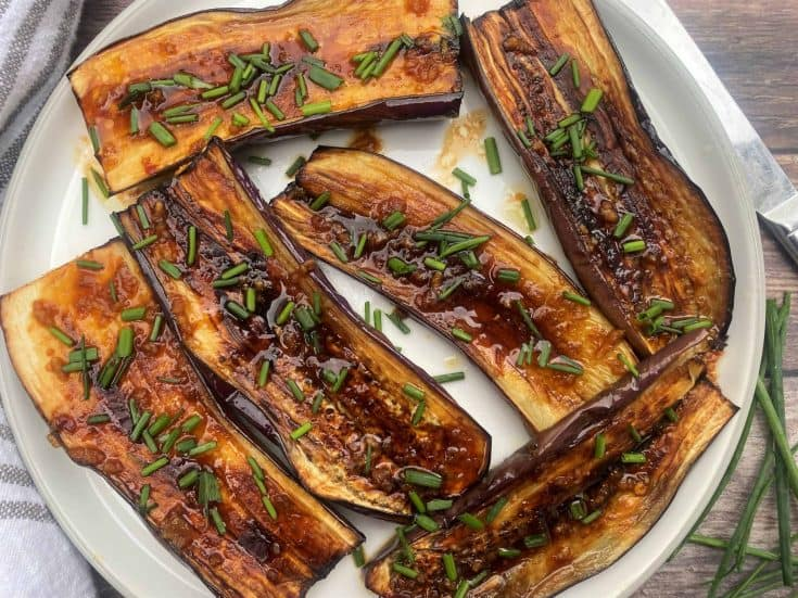 Low Carb Broiled Eggplant with Spicy Soy Glaze (Just 15 Minutes!)