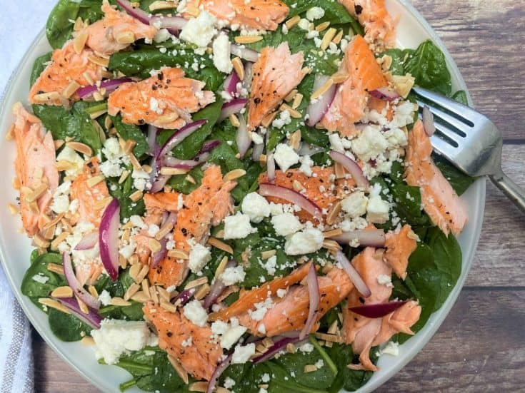 High-Protein, Keto Salmon Salad with Spinach, Feta & Almonds