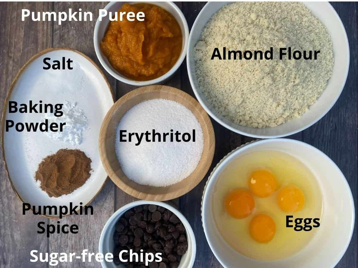 Each recipe ingredient displayed in a bowl with a label.