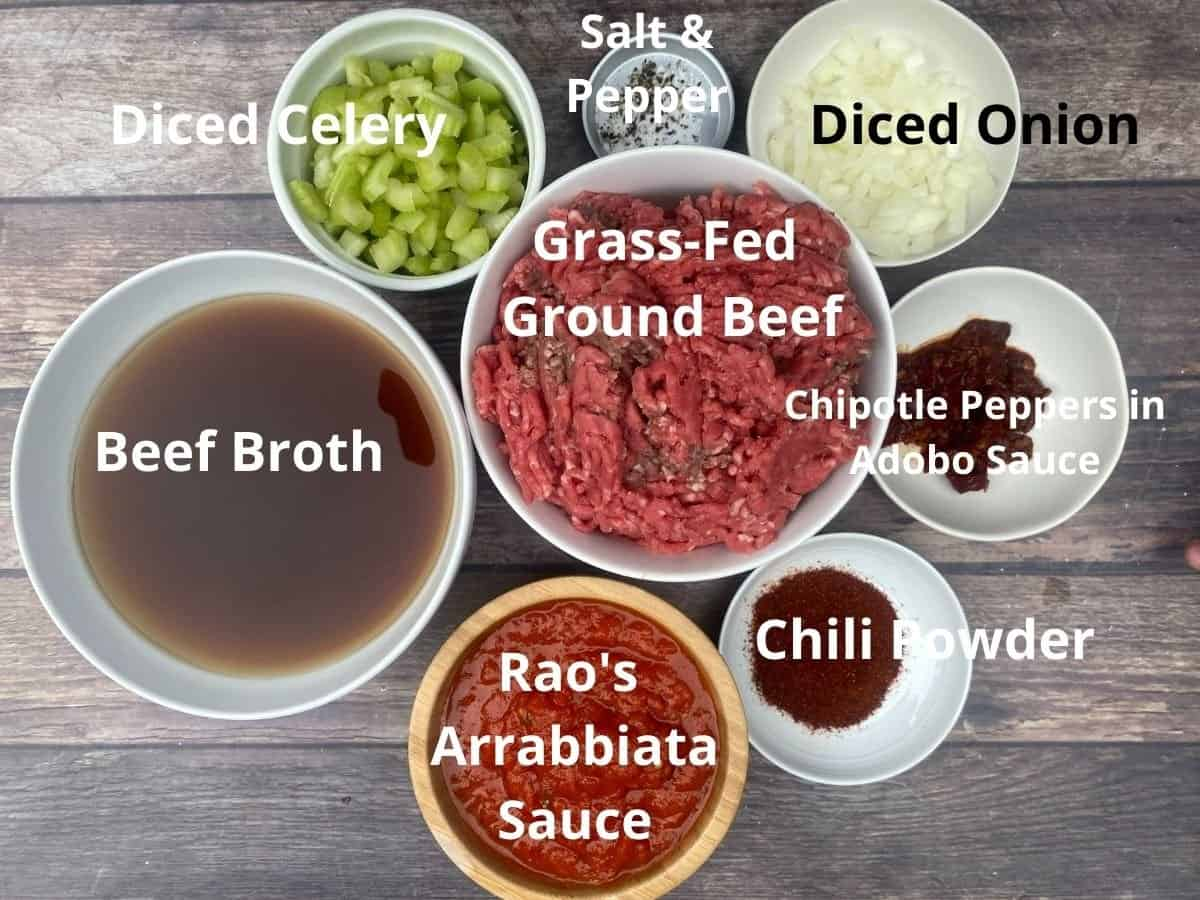 Chili ingredients in bowl and labeled with ingredient names