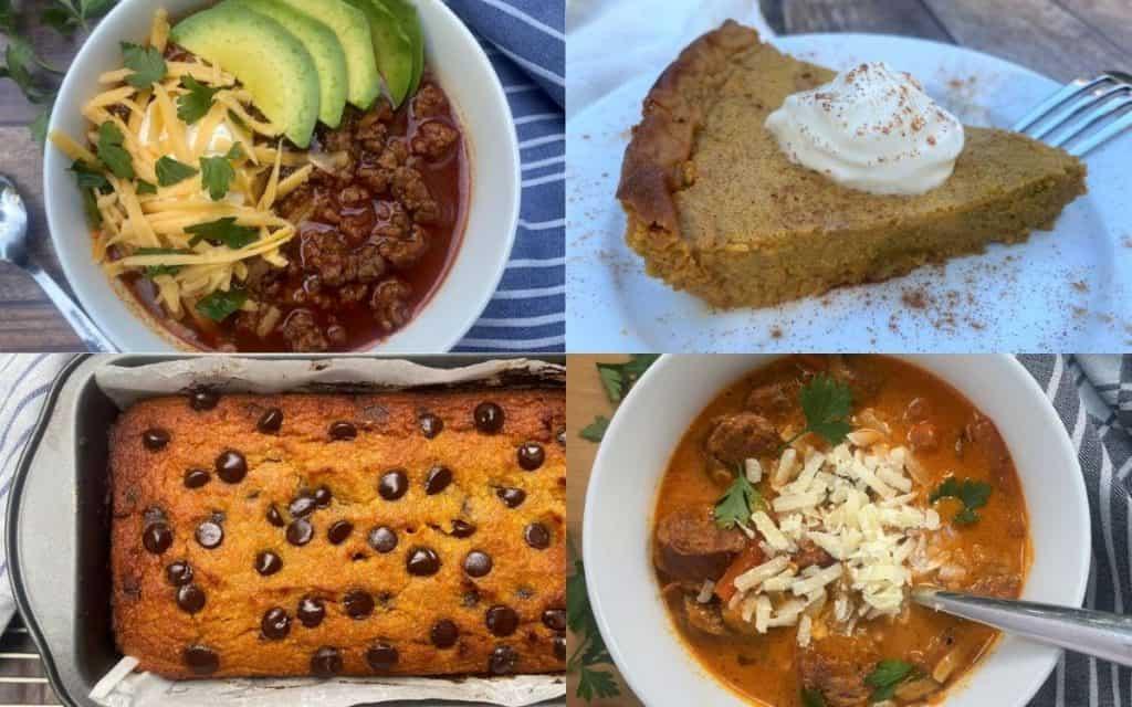 Four collage photos of keto fall recipes: keto chili, keto crustless pumpkin pie, keto pumpkin chocolate chip bread and keto spicy tomato soup.