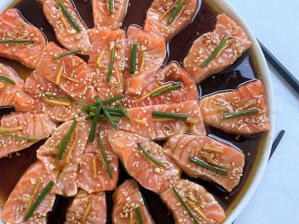 Finished dish of Nobu's new style sashimi with salmon.